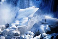 Free Waterfall And Rocks Covered In Snow Royalty Free Stock Images - 95697669