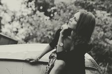 Free Thoughtful Woman Sat Outdoors Stock Images - 95697714