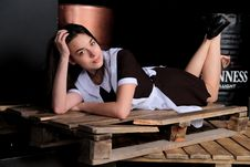 Free Pretty Girl Lying On Wooden Crate Royalty Free Stock Photography - 95697797