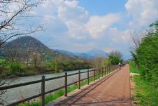Free Bicycle Path Along Small River. Royalty Free Stock Photography - 9570137