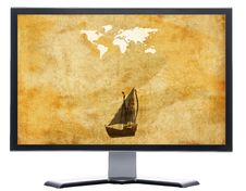 Free Monitor With Old World Map On Grunge Retro Paper Royalty Free Stock Photo - 9571235