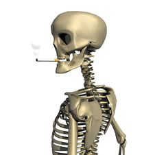 3D Skull With Cigarette