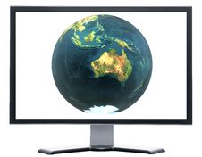 Free Monitor With 3D Globe Stock Photo - 9571480