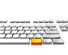Keyboard With Golden Key Stock Images