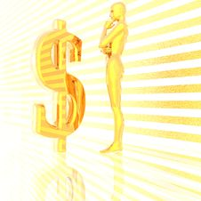 Free 3d Girl And Us Dollar Sign Royalty Free Stock Photography - 9571607