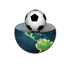Free Soccer Ball On Earth Hemisphere Isolated On White Royalty Free Stock Photos - 9571618