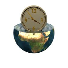 Free Wall Clock On The Earth Hemisphere Stock Images - 9571624