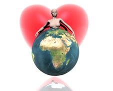 3D World Africa With Girl And Heart Stock Images