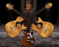 Free Cool 3D Guitar Royalty Free Stock Photography - 9571927