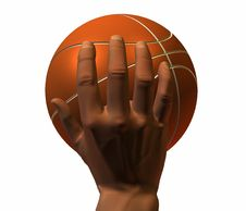 Free 3d Hand With Basket Ball Isolated On A White Royalty Free Stock Photography - 9572027
