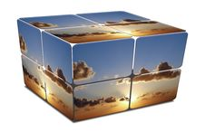 Cube With Sunset In Mediterranean Sea Stock Image