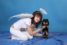 Free The Girl An Angel And Doggy Royalty Free Stock Photo - 9572575