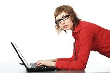 Free Girl With A Laptop Stock Images - 9573314
