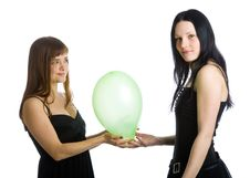 Free Two Young Girls With Green Ballons Stock Photos - 9576603