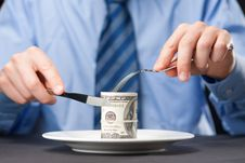 Free Money For Dinner Stock Photography - 9576762