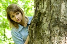 Free Girl And Tree Stock Image - 9577591