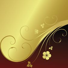 Free Golden Floral Background Stock Photography - 9577692