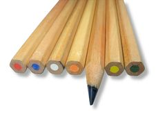 Free Wooden Color Pencils With Shadow Isolated Royalty Free Stock Images - 9578269