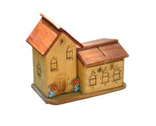 Free Small Wooden Toy House Isolated Royalty Free Stock Images - 9578389