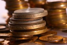 Free Golden Piles Of Coins Stock Image - 9578411