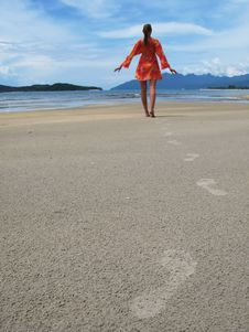 Free Young Woman On A Beach Royalty Free Stock Photo - 9579035