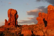 Free Sunset At Arches National Park Royalty Free Stock Image - 9579416