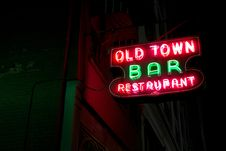Free Old Town Bar And Restaurant Neon Sign  Royalty Free Stock Photo - 95740035