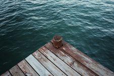 Free Dark Green Sea Water Wooden Pier Stock Image - 95798481