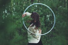 Free Woman Outdoors With Hula Hoop Royalty Free Stock Images - 95798529