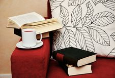 Free Books And Coffee On Armchair Stock Photo - 95798720