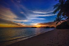 Free Tropical Beach At Sunset Royalty Free Stock Images - 95798729