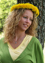 Free Curly Girl With Dandelion Chain Royalty Free Stock Photos - 9584988