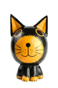 Free Wooden Statuette Cat Royalty Free Stock Image - 9580646
