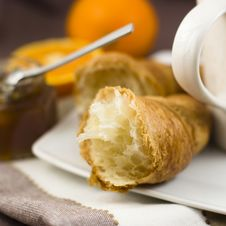 Free Breakfast With Croissant Stock Photo - 9582210