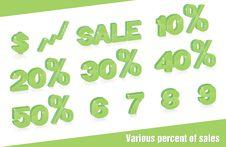 Various Percent Of Sales Royalty Free Stock Photos