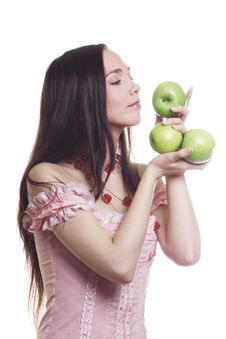 Free Girl With Apples Royalty Free Stock Image - 9583776