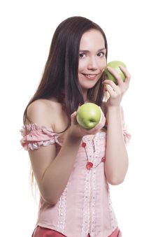 Free Girl With Three Green Apples Royalty Free Stock Photo - 9583785
