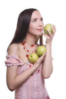 Free Brunette Girl With Fruit Royalty Free Stock Photos - 9583938