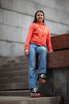 Free Rollerskating Girl Stock Image - 9584501