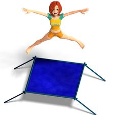 Free Toon Kid Enjoys Trampoline Stock Image - 9585971