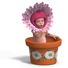 Free Baby In Flower Pot Stock Image - 9585991