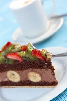 Free Gourmet- Chocolate Mousse-Cream Pie With Fruits Stock Image - 9586261