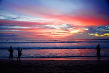 Free Silhouette Of People On Bali Beach At Sunset Stock Photo - 95868490