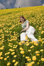 Free Young Lady In The Meadow Full Of Flowers Royalty Free Stock Photos - 9595888