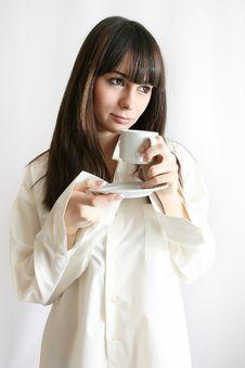 Woman Drinks Morning Coffee Stock Photos