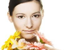 Free Young Woman With  Flowers Stock Photo - 9592510