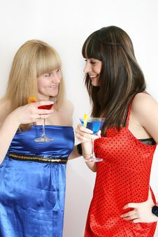 Free Two Pretty Friends With Cocktail Stock Photos - 9592513