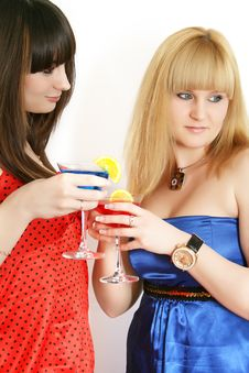 Free Two Pretty Friends With Cocktail Stock Images - 9592594