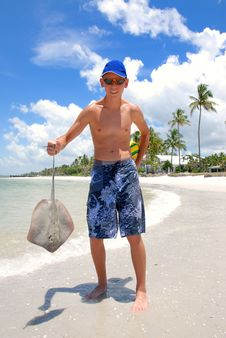 Free Teen Withh Sting-ray Royalty Free Stock Images - 9593449