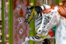 Free Two Carousel Horses Royalty Free Stock Image - 9594006